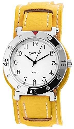 Tavolino Uhr Armbanduhr Echt Lederband gelb analog
