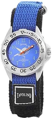 Tavolino Damenuhr mit Textilklettband Blau Armbanduhr Uhr 120923000006