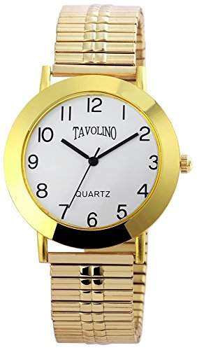 Tavolino Herren Analog Armbanduhr mit Quarzwerk 200402000049 und Metallgehaeuse mit Goldfarbigem Metallzugband Ziffernblattfarbe Weiss Armbandbreite 18 mm