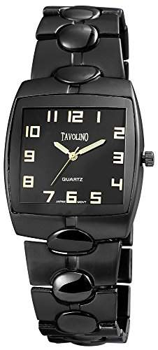 Tavolino Herrenuhr mit Metallarmband Schwarz Armbanduhr Uhr 200471000022