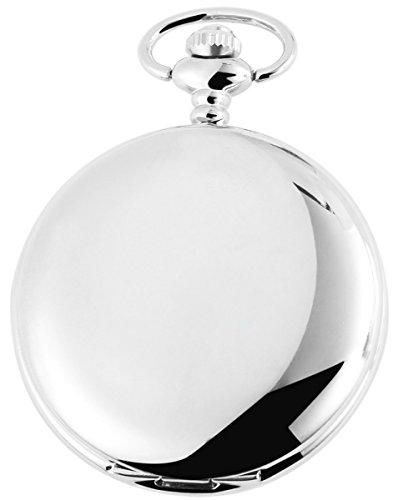 Tavolino Analog Taschenuhr mit Metall Kettenband 200422000047 Silberfarbiges Gehaeuse im Masse 47mm x 14mm mit Ziffernblattfarbe Weiss und Mineralglas