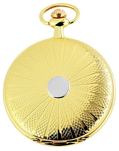 Tavolino Analog Taschenuhr mit Metall Kette und Hakenverschluss 480802000002 Goldfarbiges Gehaeuse im Masse 48mm x 12mm mit Ziffernblattfarbe Weiss und Mineralglas
