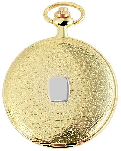 Tavolino Analog Taschenuhr mit Metall Kette und Hakenverschluss 480802000071 Goldfarbiges Gehaeuse im Masse 47mm x 11mm mit Ziffernblattfarbe Weiss und Mineralglas