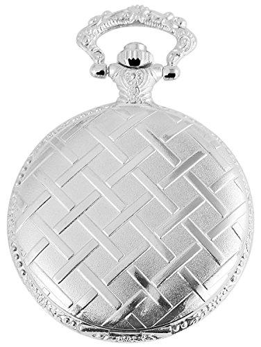 Tavolino Analog Taschenuhr mit Metall Kette und Hakenverschluss 480812000047 Silberfarbiges Gehaeuse im Masse 46mm x 14mm mit Ziffernblattfarbe Weiss und Mineralglas