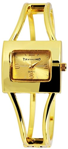 Tavolino Damenuhr mit Metall Spange Armbanduhr Uhr goldfarbig 100404500253