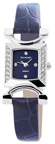 Tavolino Damen mit Quarzwerk 100323000198 und Metallgehaeuse mit Kunstlederarmband in Blau und Dornschliesse Ziffernblattfarbe blau Bandgesamtlaenge 20 cm Armbandbreite 12 mm