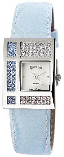 Tavolino Damen mit Quarzwerk 100323600173 und Metallgehaeuse mit Kunstlederarmband in Blau und Dornschliesse Ziffernblattfarbe Weiss Bandgesamtlaenge 22 cm Armbandbreite 20 mm