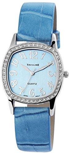 Tavolino Damen mit Quarzwerk 100323500166 und Metallgehaeuse mit Kunstlederarmband in Blau und Dornschliesse Ziffernblattfarbe blau Bandgesamtlaenge 22 cm Armbandbreite 18 mm