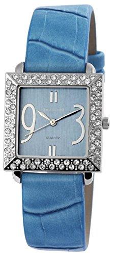 Tavolino Damen mit Quarzwerk 100323000159 und Metallgehaeuse mit Kunstlederarmband in Blau und Dornschliesse Ziffernblattfarbe blau Bandgesamtlaenge 22 cm Armbandbreite 18 mm