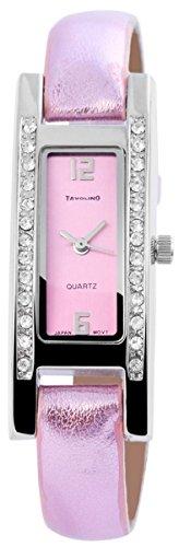 Tavolino Damen mit Quarzwerk 100325500143 und Metallgehaeuse mit Kunstlederarmband in Pink und Dornschliesse Ziffernblattfarbe Pink Bandgesamtlaenge 20 cm Armbandbreite 10 mm