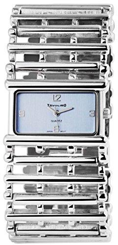 Tavolino Damen mit Quarzwerk 100423500179 Metallgehaeuse mit Metallarmband Silberfarbig und Clipverschluss Ziffernblatt blau Bandgesamtlaenge 19cm Bandbreite 32mm
