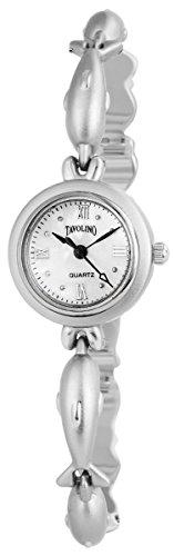 Tavolino Damen Analog Armbanduhr mit Quarzwerk 100422500250 Metallgehaeuse mit Metallarmband Silberfarbig und Clipverschluss Ziffernblatt silberfarbig Bandgesamtlaenge 20cm Bandbreite 9mm
