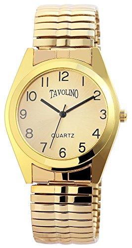 Tavolino Herren mit Quarzwerk 200404000051 und Metallgehaeuse mit Goldfarbigem Metallzugband Ziffernblattfarbe schwarz Armbandbreite 19 mm