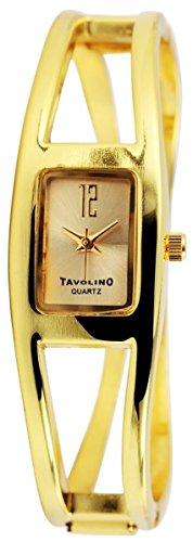 Tavolino Damen mit Quarzwerk 100404000213 und Metallgehaeuse mit Metallspange in Goldfarbig Ziffernblattfarbe goldfarbig Bandgesamtlaenge 19 cm Armbandbreite 17 mm