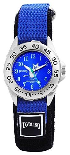 Tavolino Damen mit Quarzwerk 120923100019 und Metallgehaeuse mit Textil Klettarmband in Schwarz Ziffernblattfarbe blau Bandgesamtlaenge 18 cm Armbandbreite 20 mm