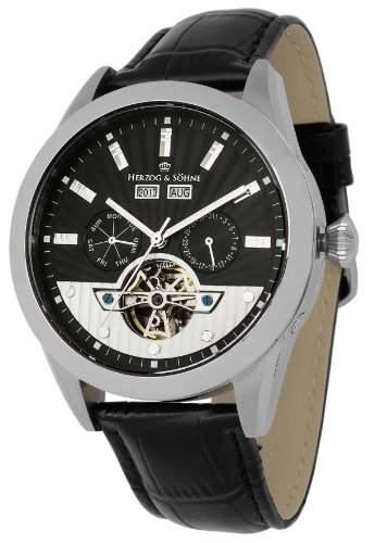 Herzog & Soehne Herren-Armbanduhr XL Analog Automatik Leder HS512-122