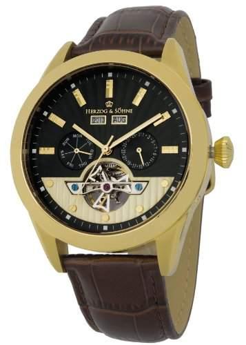 Herzog & Soehne Herren-Armbanduhr XL Analog Automatik Leder HS512-275