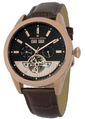 Herzog & Soehne Herren-Armbanduhr XL Analog Automatik Leder HS512-325