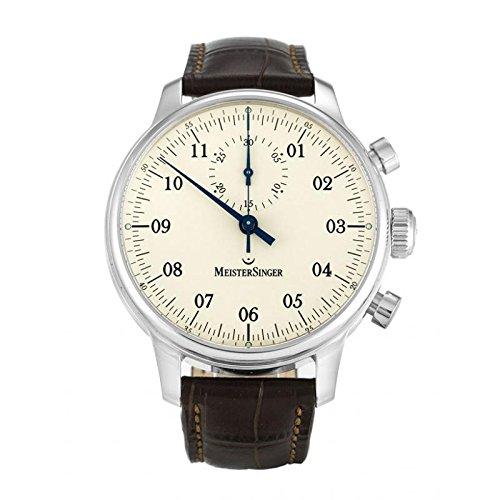 Uhr Meistersinger Herren mm403singular Schalter Stahl Quandrante Creme Armband Polycarbonat