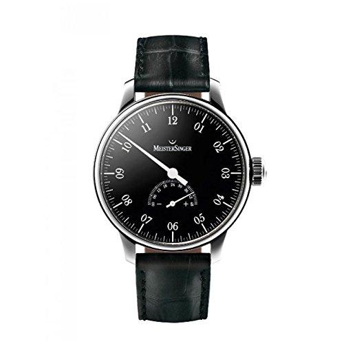 Uhr Meistersinger Herren um207unomatik Schalter Stahl Quandrante schwarz Armband Leder