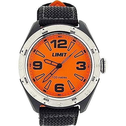 LIMIT Analoge Herren Armbanduhr mit orangefarbenem Ziffernblatt, 100m wasserdicht und Nylonarmband 5403