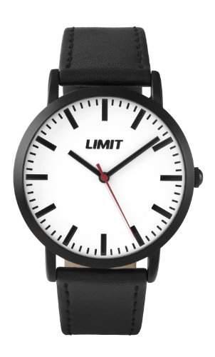 Limit Herren Armbanduhr mit weissem Zifferblatt Analog-Anzeige und schwarz PU Gurt 545701
