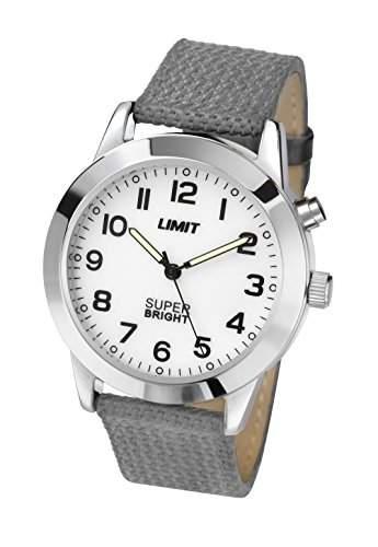 Limit Super Bright MenQuarz-Uhr mit weissem Zifferblatt Analog-Anzeige und Grau PU Strap 549501
