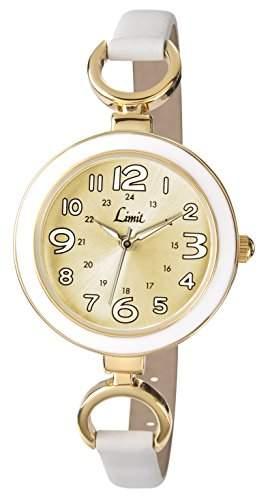 WomenLimit Damen Armbanduhr Analog Gold Zifferblatt Analog-Anzeige und weisse PU Strap 604801
