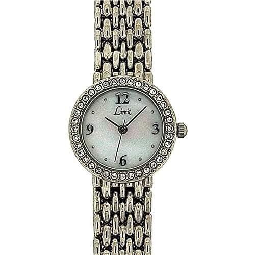 LIMIT Damen Armbanduhr mit Perlmutt Ziffernblatt und Kristall besetzter Luenette 6746