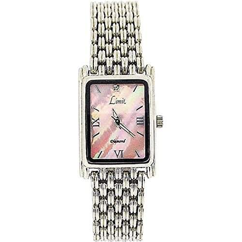 LIMIT Damenarmbanduhr mit rechteckigem, rosa Perlmutt Ziffernblatt, und Silberarmband 6754