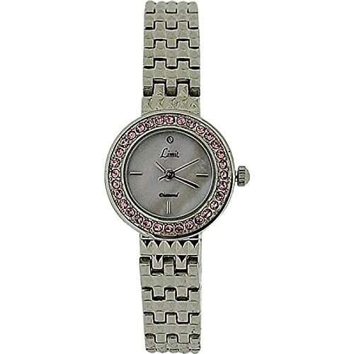 LIMIT Damenarmbanduhr mit Perlmutt Ziffernblatt, rosa Kristallbesatz auf Luenette und Silberarmband 6796