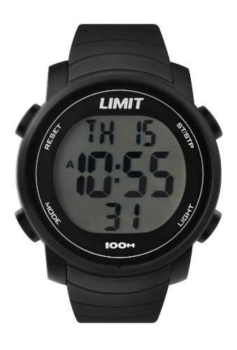 Limit Unisex Digital Uhr mit LCD Zifferblatt Digital Display und schwarz Kunststoff Gurt 696424