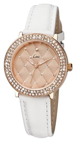 Limit Quarz mit rosegoldenem Zifferblatt Analog Armband Weiss 6106 01
