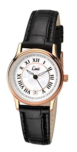 Limit Damen Armbanduhr Quartz Analog mit Weissem Zifferblatt Armband Schwarz Kunstleder 6087 01