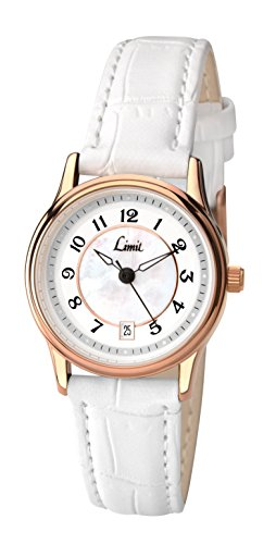 Limit Damen Armbanduhr Quartz Analog mit Weissem Zifferblatt Armband Weiss Kunstleder 6202 01