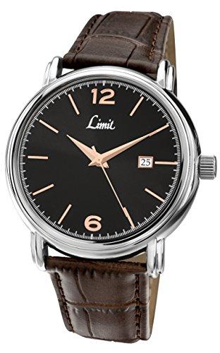 Limit Herren Armbanduhr Quartz mit Schwarzem Zifferblatt Analog Armband Braun Kunstleder 5653 01