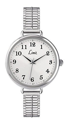 Limit Armbanduhr 6003 Edelstahl weisses Zifferblatt Expanderarmband