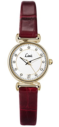 Limit Classic weiss Zifferblatt Gold Fall Burgund 6161 Lederband