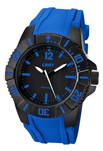 Limit Herren Armbanduhr Active Analog Quarz 200 m Wasser resistent mit schwarzem Zifferblatt und Blau Silikon Riemen 5546