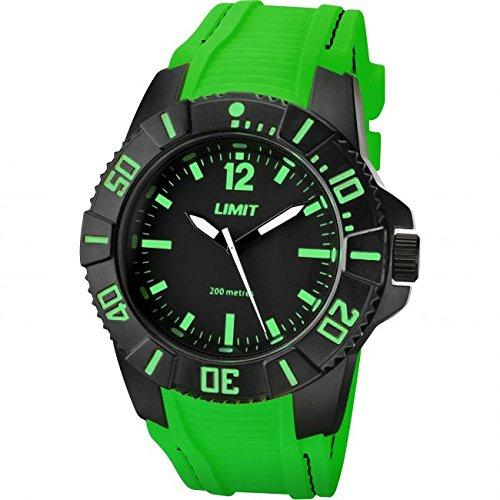 Limit Herren Armbanduhr Active Analog Quarz 200 m Wasser resistent mit schwarzem Zifferblatt und Gruen Silikon Gurt 5548
