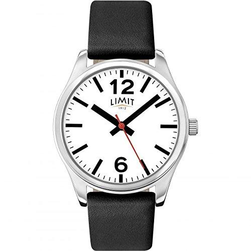 Limit Classic weiss Zifferblatt schwarz Lederband Herren Armbanduhr 5626