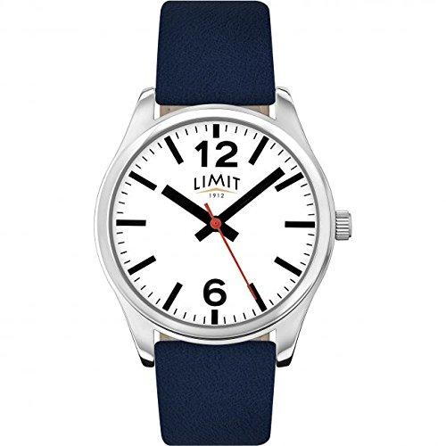Limit Classic weiss Zifferblatt blau Lederband Herren Armbanduhr 5627