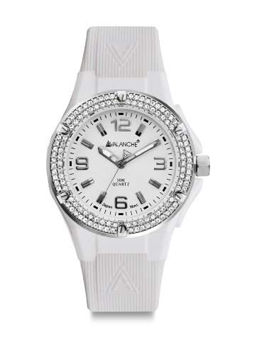 Avalanche Watch Damen-Armbanduhr Jewel Analog Silikon weiss AV-105S-CLWH