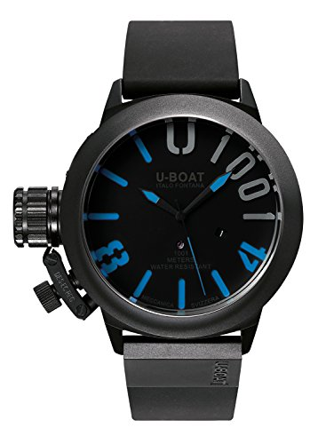 U Boat Classico 471001IPB Blu Herren Automatik Uhr mit schwarzem Zifferblatt Analog Anzeige und schwarz Gummiband 7541 0