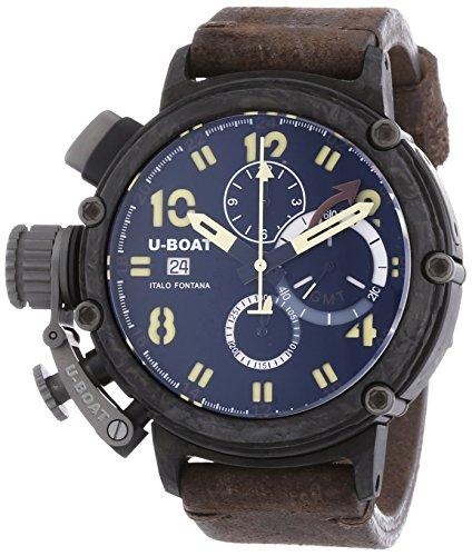 U Boat Chimre 48Pullover Carbonio Herren Automatik Uhr mit schwarzem Zifferblatt Chronograph Anzeige und braunem Lederband 7177