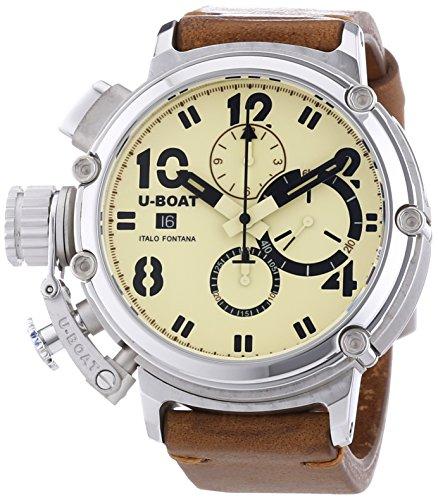 U Boat Chimre 48Sterling Silber Herren Automatik Uhr mit Beige Zifferblatt Chronograph Anzeige und braun Gurt 7107