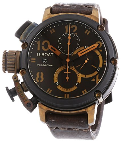 U Boat 6946Herren Chimre schwarz und Bronze Automatik Uhr mit Braun Zifferblatt Chronograph Anzeige und braun Lederband