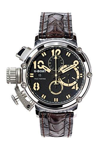 U Boat Chimre 48mm 925Herren Automatik Uhr mit schwarzem Zifferblatt Chronograph Anzeige und schwarz Gurt 7108 0