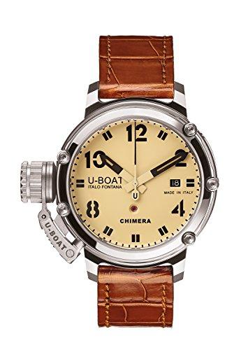 U Boat Chimre 43mm Herren Armbanduhr Automatik werden mit beigem Zifferblatt Analog Anzeige und braunem Gurt 7227 0