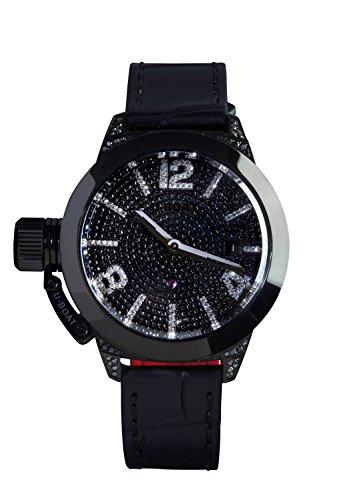 U Boat Classico 40IPB Pav Diamant Damen Automatik Uhr mit schwarzem Zifferblatt Analog Anzeige und schwarz Gurt 6978 0